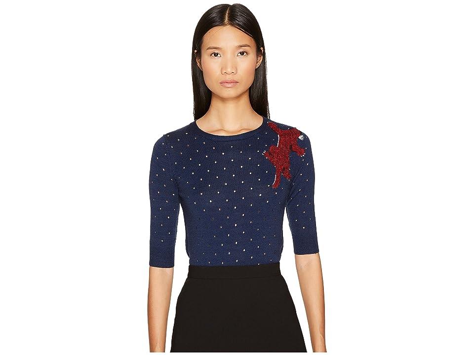 Sonia Rykiel Perforated Woolsilk Knit Sweater (Multi Black) Women