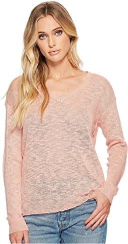 Linen Blend Sweater V-Neck Pullover with Back Keyhole