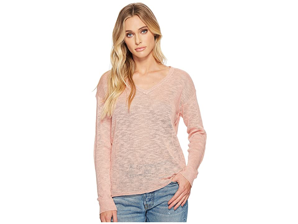 Michael Stars Linen Blend Sweater V-Neck Pullover with Back Keyhole (Coral Sherbet) Women