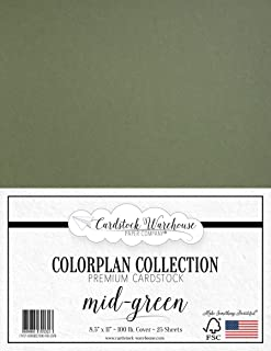 MID Green Cardstock Paper - 8.5 x 11 inch Premium 100 lb. Cover - 25 Sheets from Cardstock Warehouse