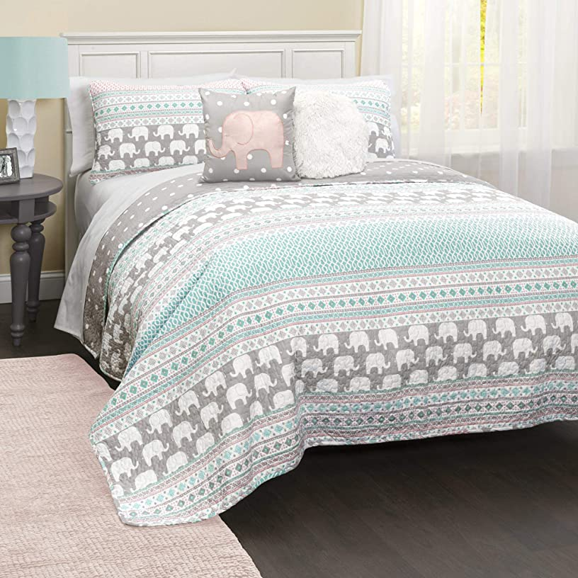 Lush Decor Elephant Striped Quilt Reversible 5 Piece Bedding Set, Full/Queen, Turquoise & Pink