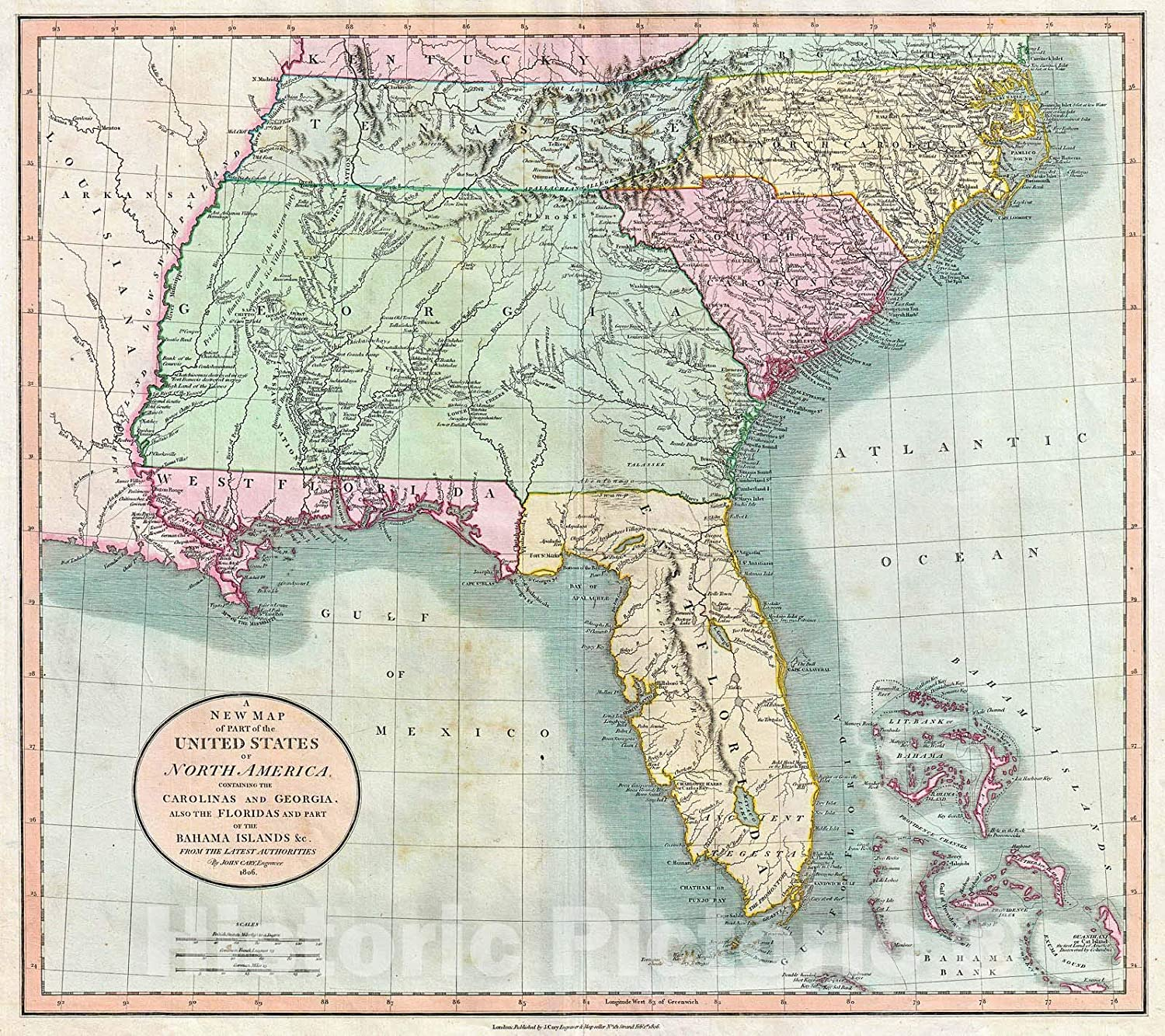 Map Of Florida Georgia And South Carolina Amazon.com: Historic Map : Cary Map of Florida, Georgia, North