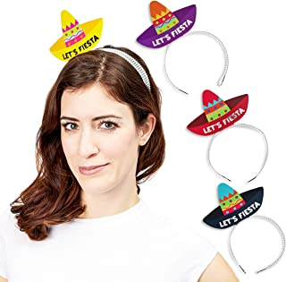 Juvale 24-Pack Lets Fiesta Sombrero Headbands - Party Accessories for Mexican Theme Parties, Cinco De Mayo, 4 Designs