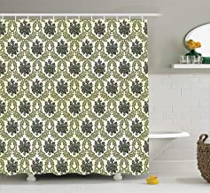 Ambesonne Damask Decor Collection, Vintage Floral Damask with Abstract Bouquet Greenery Pattern Artwork Print, Polyester Fabric Bathroom Shower Curtain Set with Hooks, Green Beige
