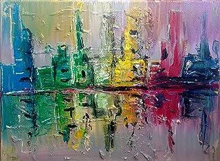 """Pintura Abstracta Lienzo al Óleo Arte Moderno """"CIUDAD EN OSCURO"""" por DOBOS, Cuadro para Decoración del Hogar, sala de esta..."""