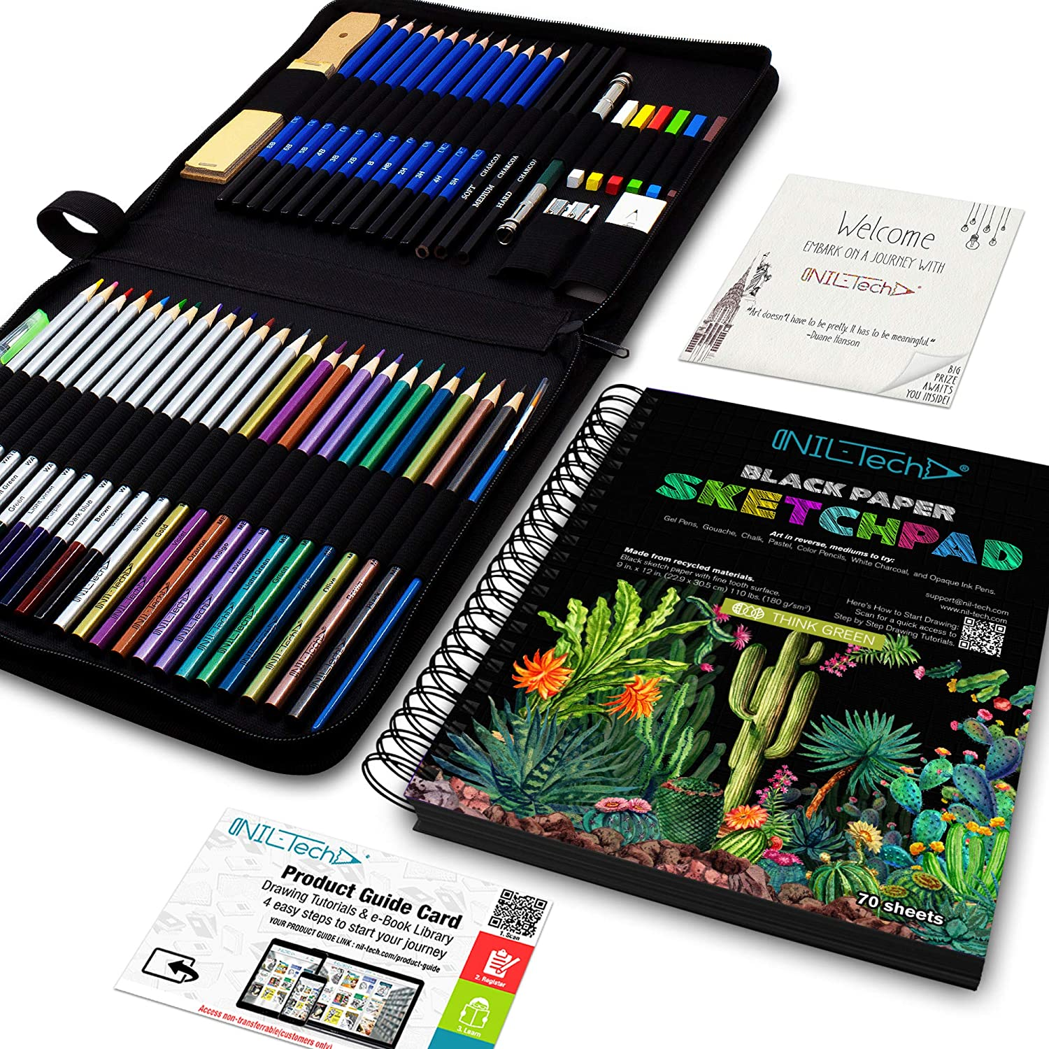 53-Piece Coloring and Drawing Art Ranking TOP11 Set Sketch PLUS Black Bo Paper NEW before selling ☆