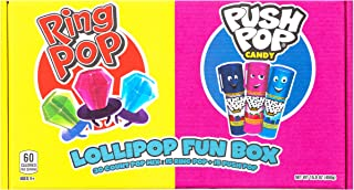 Ring Pop Push Pop Candy Gift Box - Assorted Fruity Lollipop Gifts Box for Birthdays and Parties