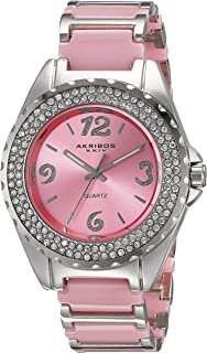 Akribos XXIV Women's Fashion Casual Watch - Coin Edge Crystal Bezel - Sunburst Dial - Ceramic Bracelet Strap - AK514
