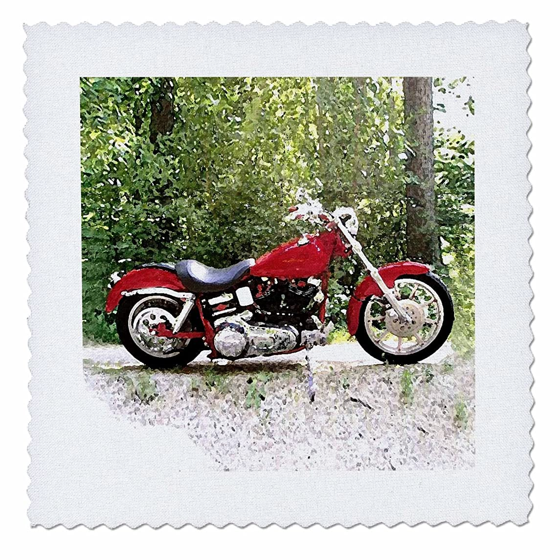 3dRose qs_4839_1 Quilt Square Picturing Harley-Davidson and No.174 Motorcycle