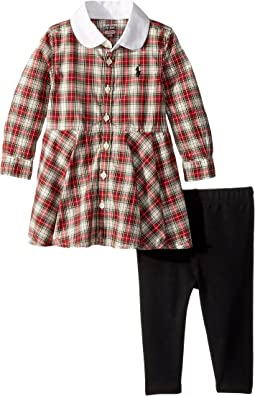 Ralph Lauren Baby - Plaid Shirtdress & Leggings Set (Infant)