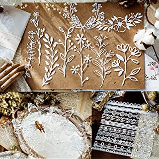 Papier découpé en dentelle creuse, Papier découpé Plantes Fleurs Sauvages Papillons pour Scrapbooking Deco de DIY Album Ph...