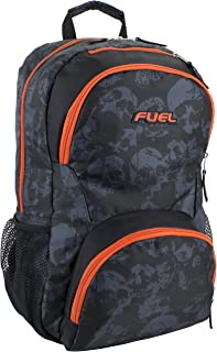 Fuel Valor Everyday Backpack with Interior Tech Sleeve, Black/Skull Print with Orange Trim