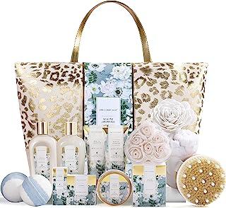 Spa Luxetique Coffret de Bain, Parfum de Jasmin,15PC Coffret Cadeau pour Femme, Sac Fourre-tout, Bain Moussant, Cadeau pou...