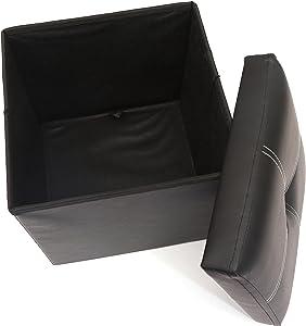 Pouf pliant avec compartiment de rangement Marron Siège, pouf, boîte à rangement pour jouets, repose-pieds [ max. de 150 kg gris foncé 30 x 30 x 30 cm ] - Noir
