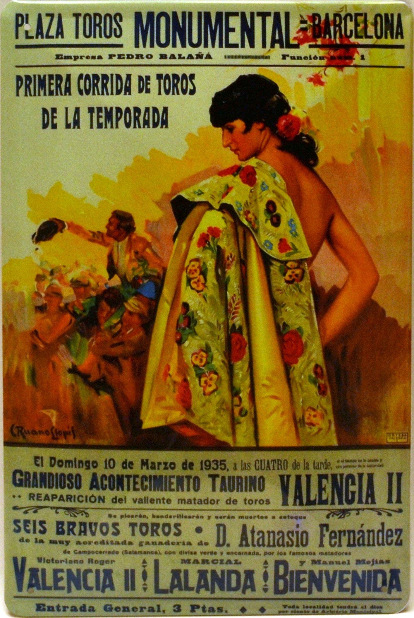 ART ESCUDELLERS Cartel Póster publicitario de Chapa metálica con diseño Retro Vintage de Catalunya/España. Tin Sign. 30 cm x 20 cm (Plaza DE TOROS Monumental Barcelona Capote): Amazon.es: Hogar