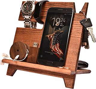 BarvA Wood Dock-ing Station Cell-Phone Smart-Watch Holder Men Charging Accessory Night-Stand Father Mobile Gadget Organize...