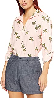 French Connection Women's Coconut Tree Shirt, Pastel Pink/Multi