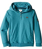 Lucky Brand Kids - French Terry Hoodie w/ Button Front and Screen Print On Back (Little Kids/Big Kids)