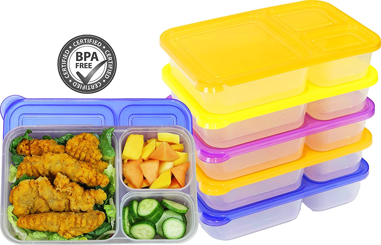 6 Pack SimpleHouseware 3 Compartment Heavy Duty Bento Lunch Container Boxes 36 Ounces 4 Color