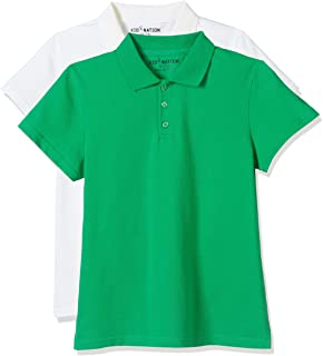 Kid Nation Kids 2 Packs Solid Short-Sleeve Polo Shirt for Boys and Girls