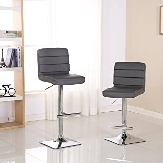 Roundhill Furniture Bradford Faux Leather Swivel Height Adjustable Bar Stool, Gray
