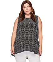 Vince Camuto Specialty Size - Plus Size Sleeveless Yoruba Graphic High-Low Hem Blouse