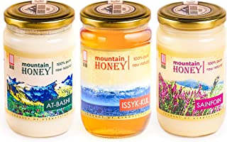 Pure Organic Raw Honey (3-PACK) Natural Wildflower Mountain Honey from Central Asia - Unheated & Unfiltered - Includes: At-Bashi (15.8oz), Issyk-Kul (17.6oz), Sainfoin (17.6oz) – by Mira Nova