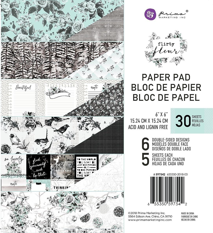 Prima Marketing Inc. 597542 Flirty Fleur 6x6 Paper Pad, Black & Teal