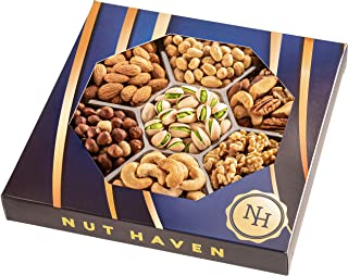 Holiday Nuts Gift Basket   Fresh Salty Dry Roasted Gourmet Nuts Gift Basket   Fantastic Food Gift Basket for Fathers Day, Thanksgiving, Holiday, Sympathy, Family, Men & Women   Prime Delivery