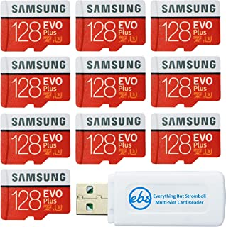 Samsung 128GB Evo Plus MicroSD Card (10 Pack EVO+) Class 10 SDXC Memory Card with Adapter (MB-MC128G) Bundle with (1) Everything But Stromboli Micro & SD Card Reader
