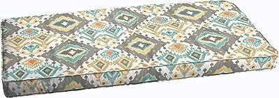 Humble and Haute Grey Aqua Ikat Indoor/Outdoor Corded Bench Cushion