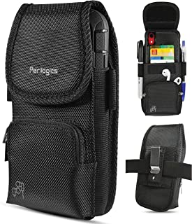 2019 New Magnetic Cover. Belt Holster for iPhone 11 Pro Max, 11 Pro, Xs Max, Xr, 8 Plus, 7 Plus with Rugged Type Phone Cases. Dual Directional Zipper Storage and Credit Card Pocket. (Black/Magnetic)