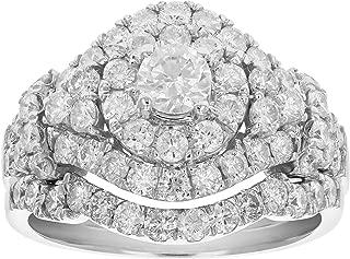 2 CT Diamond Wedding Engagement Ring Set 14K White Gold