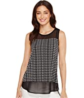 Vince Camuto - Sleeveless Sahara Tracks Chiffon Mix Media Top