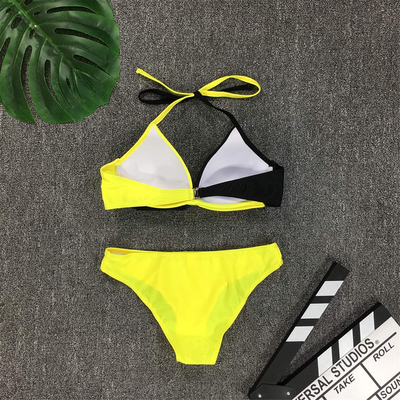 Andongnywell Women Padded Push up Bikini Set Halter Two Piece Cross Top Swimsuit Patchwork Bathing Suit