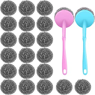 20 Pieces Stainless Steel Scourers Steel Wool Scrubber Metal Scouring Pad Metal Sponge with 2 Handles for Kitchen Bathroom Cleaning