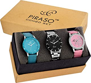 PIRASO Analogue Blue Black Pink Dial Combo of 3 Watches - Pw3-06-For Women's