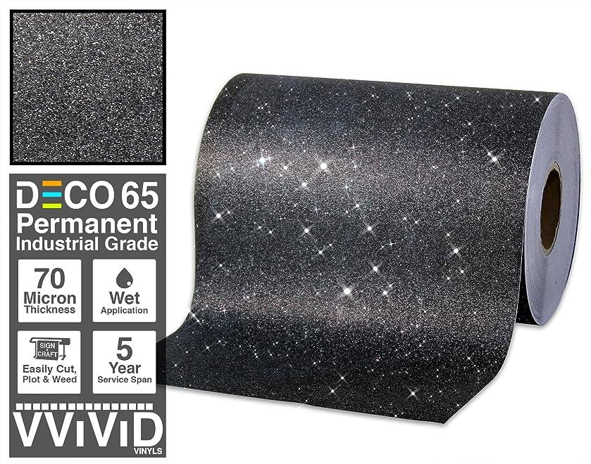 VViViD Glitter Black DECO65 Permanent Adhesive Craft Vinyl Roll for Cricut, Silhouette & Cameo (30ft x 1ft)