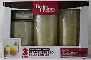 Flameless Flicker LED Pillar Candles, Set of Three, Better Homes and Gardens