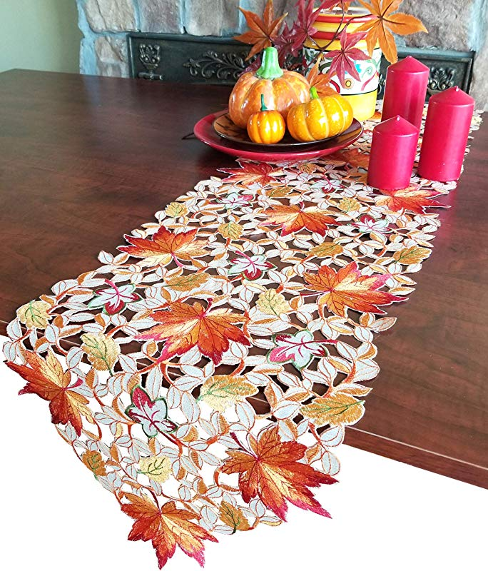 GRANDDECO Thanksgiving Harvest Table Runner Embroidered Cutwork Maple Leaves Dresser Scarf Table Cover Autumn Or Fall Decorations Runner 13 X54 Maple Leaves 2