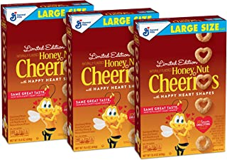 Honey Nut Cheerios Hearts, Gluten Free, Cereal With Oats, 15.4 Oz Box (Pack Of 3)
