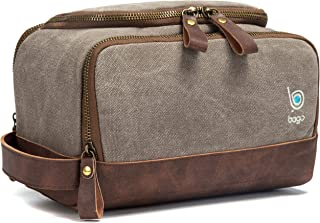 Bago Leather Canvas Dopp Kit For Men - Shaving Kit Bags for Men - Shower and Toiletry Travel Bag - Hanging Hook | Inner Organization | Fits Large Toiletries kits | Mens Dopp Kit for (Canvas Leather)