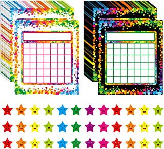 66 Pack Classroom Incentive Chart in 2 Designs with 2024 Star Stickers for Classroom Teaching or Family Using