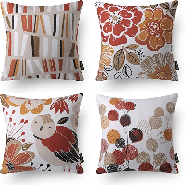 Phantoscope Decorative Set Of 4 Jesse Series Sweet Home Throw Pillow Case Cushion Cover Orange 18 X 18 Inches 45 X 45 Cm