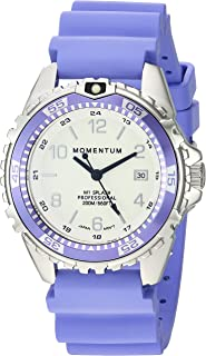 Women's Quartz Watch | M1 Splash by Momentum| Stainless Steel Watches for Women | Dive Watch with Japanese Movement & Analog Display | Water Resistant Ladies Watch with Date -Lume/Purple Rubber