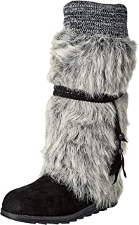 Muk Luks Women's Leela Boots Knee High, Ebony Marl, 6 M US