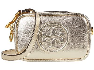 Tory Burch Perry Bombe Crinkle Metallic Mini Bag (Champagne) Handbags