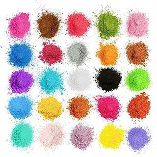comprar comparacion MOSUO Pigmentos en Polvo,5g*25 Colores Natural Mica Tintes para teñir Resina Epoxi, Jabones, Slime, Cera, Pintura, Vela, U...