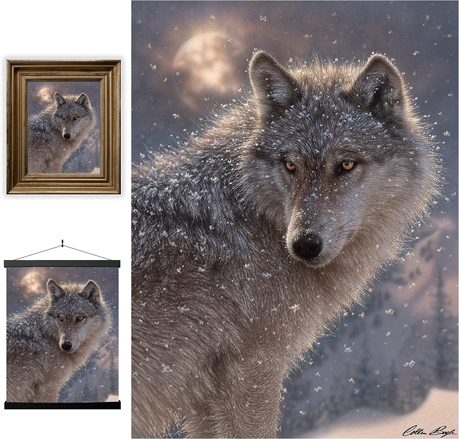 3D LiveLife Lenticular Wall Art Prints - Lone Wolf from Deluxebase. Unframed 3D Animal Poster. Perfect wall decor. Original artwork licensed from renowned artist, Collin Bogle