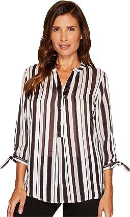 Ivanka Trump - Woven Stripe Tie Sleeve Blouse